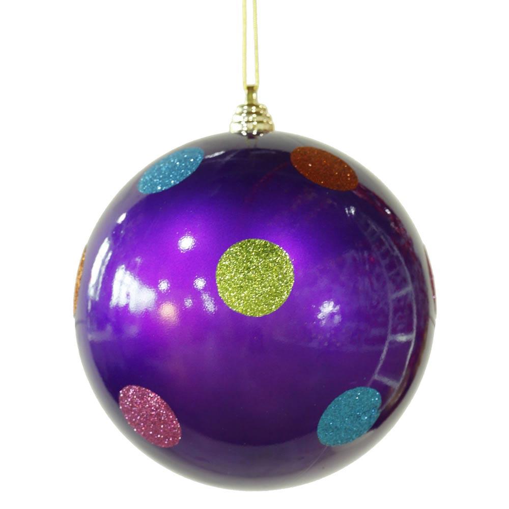 Inch polka dot christmas ball ornament purple m