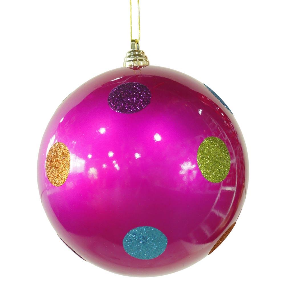 Inch polka dot christmas ball ornament pink m