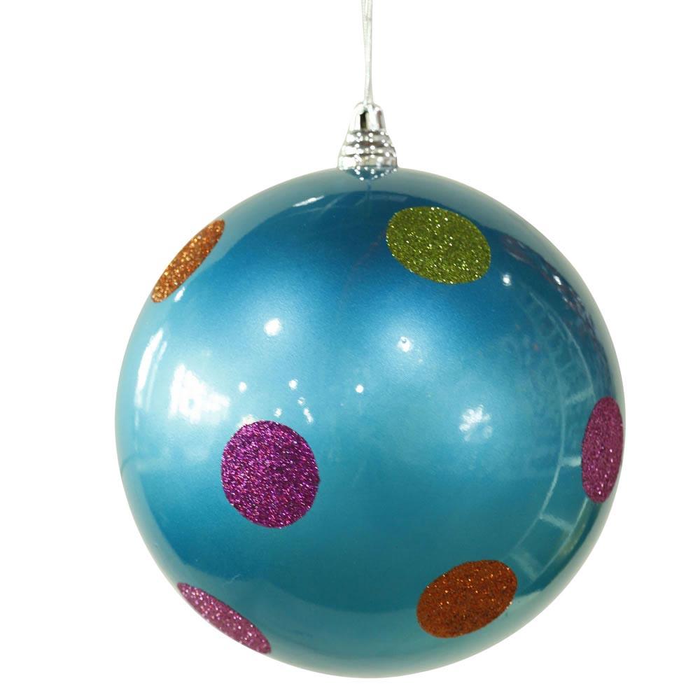 Inch polka dot christmas ball ornament turquoise m