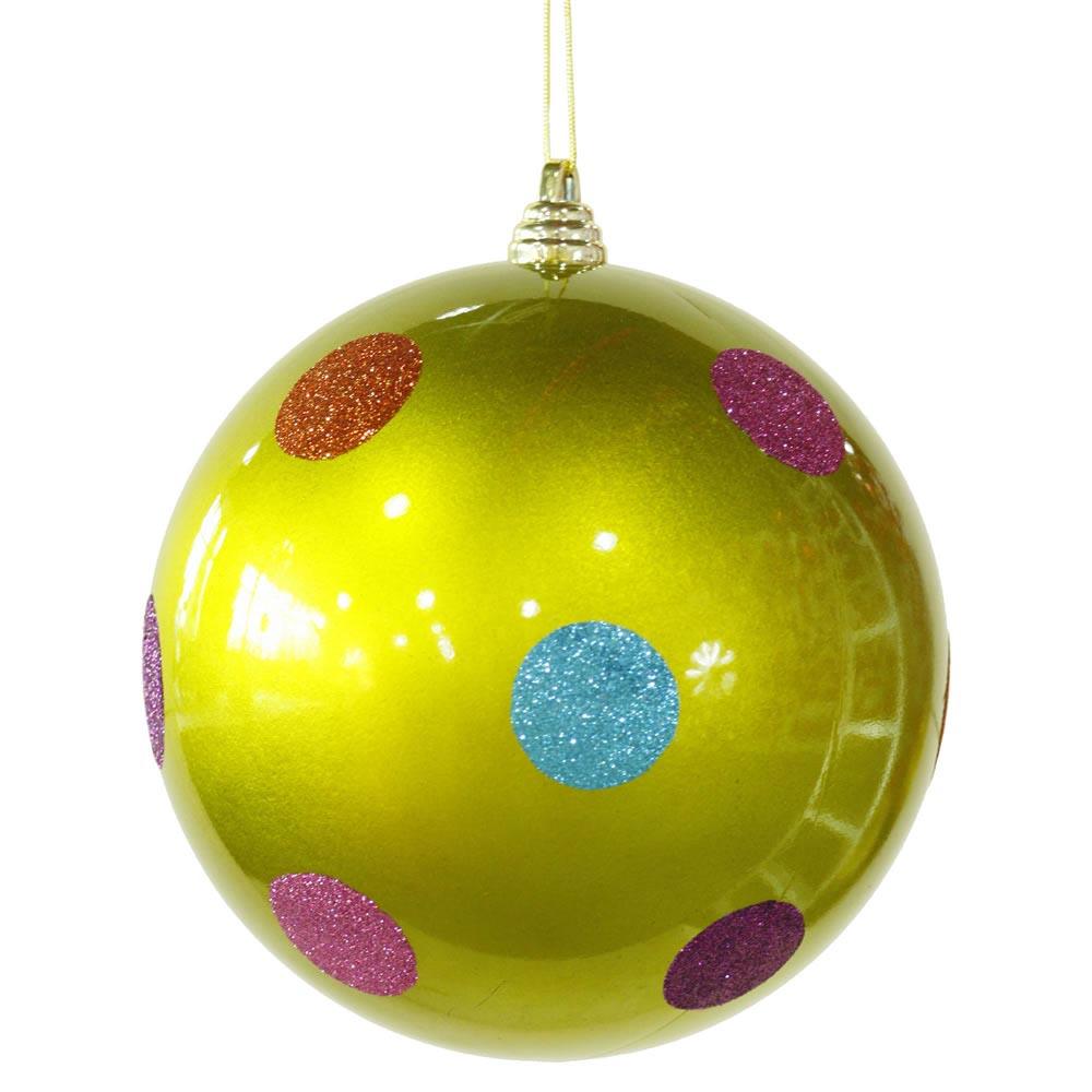 Inch polka dot christmas ball ornament green m