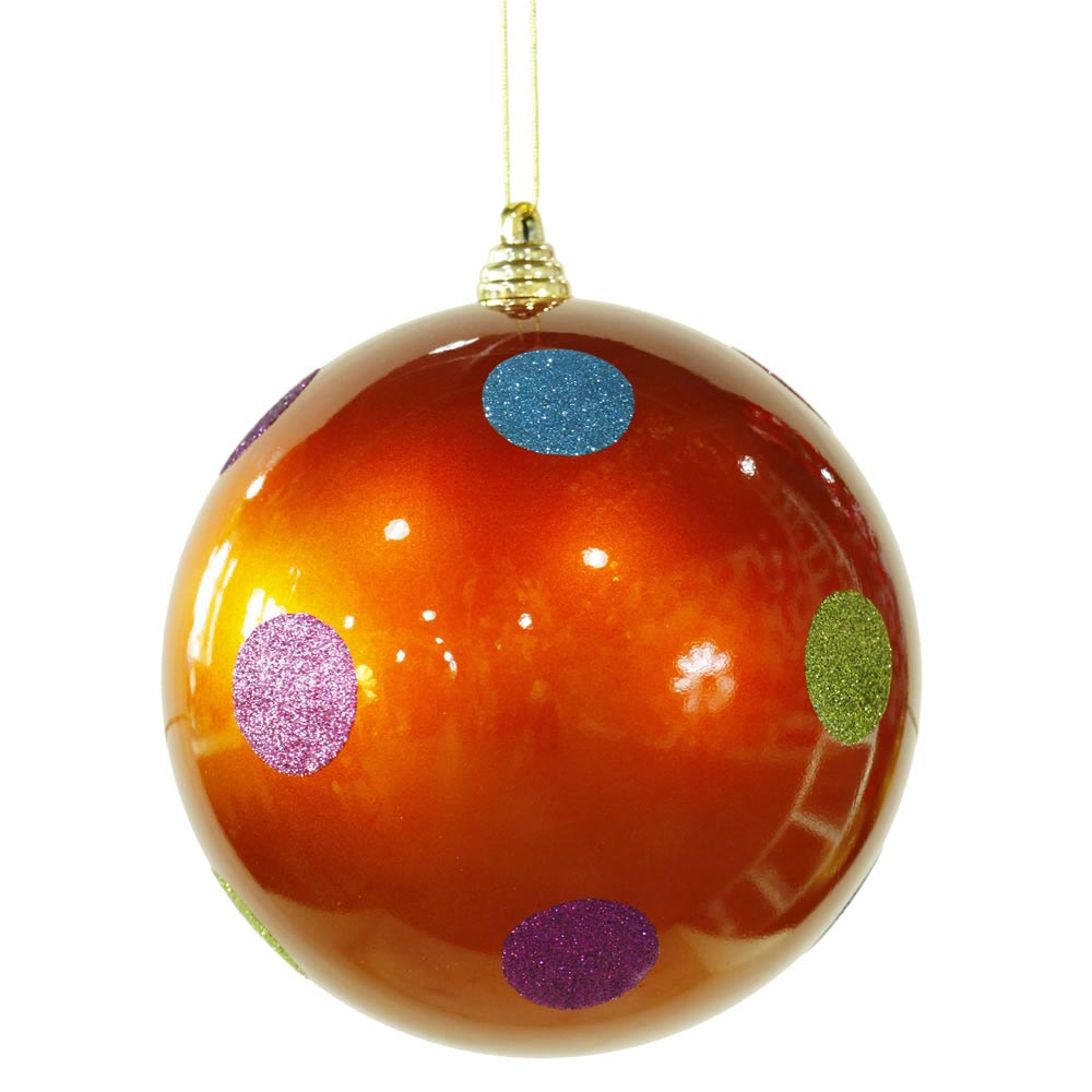 Christmas Decorations With Orange: 8 Inch Polka Dot Christmas Ball Ornament: Orange
