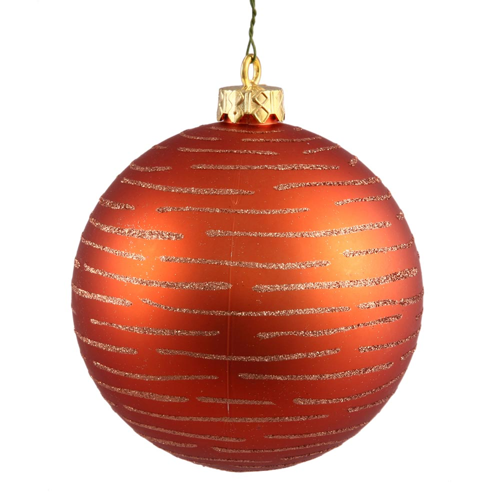 Christmas Decorations With Orange: 4.75 Inch Christmas Ball With Glitter Ornament: Orange