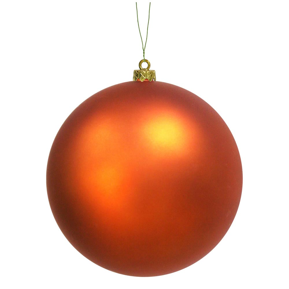 Christmas Decorations With Orange: 6 Inch Matte Finished UV/Shatterproof Christmas Ball
