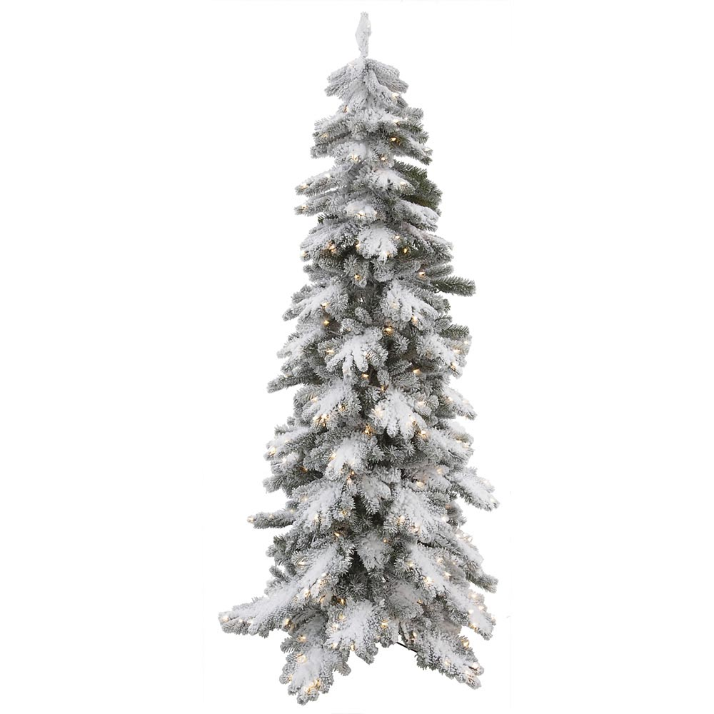 7 Foot Artificial Vail Pine Flocked Christmas Tree: Clear Pre Lit Lights