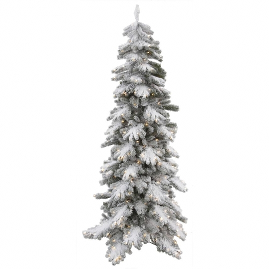 Slim Logo; 7 Foot Artificial PE/PVC Vail Pine Flocked Christmas Tree: Clear  Lights
