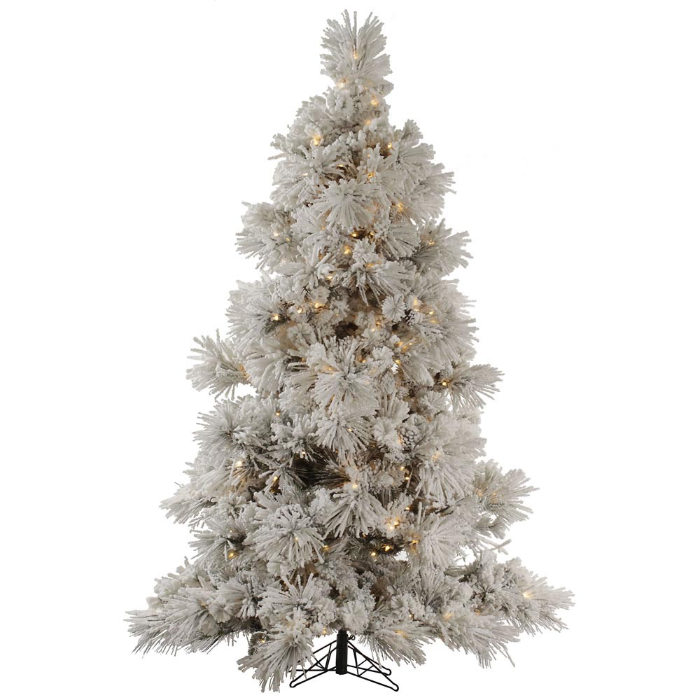 foot flocked pocono pine christmas tree all lit lights a142481. Black Bedroom Furniture Sets. Home Design Ideas