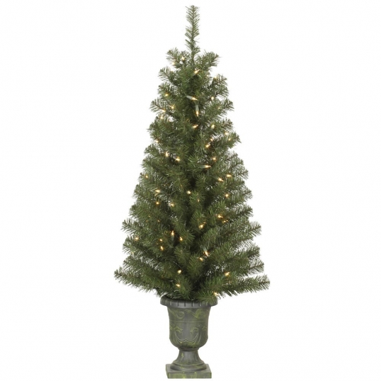 slim logo 4 foot potted christmas tree in urn lights - Potted Christmas Tree
