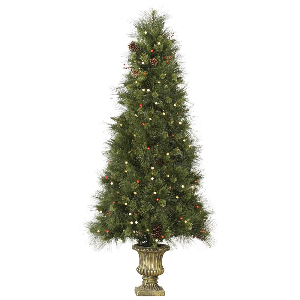 Inoko Pine Slim Potted Christmas Tree White Red Lights