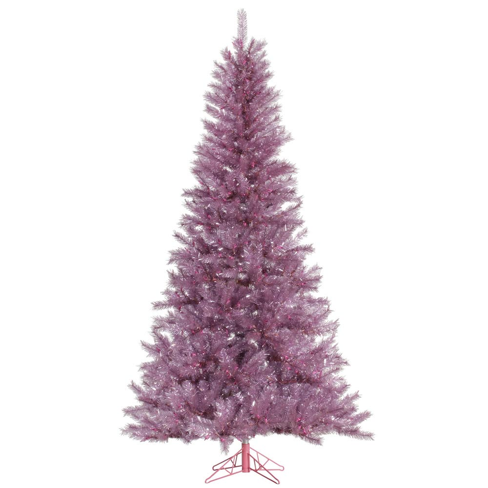 9 foot magenta tinsel christmas tree pre lit a147080. Black Bedroom Furniture Sets. Home Design Ideas
