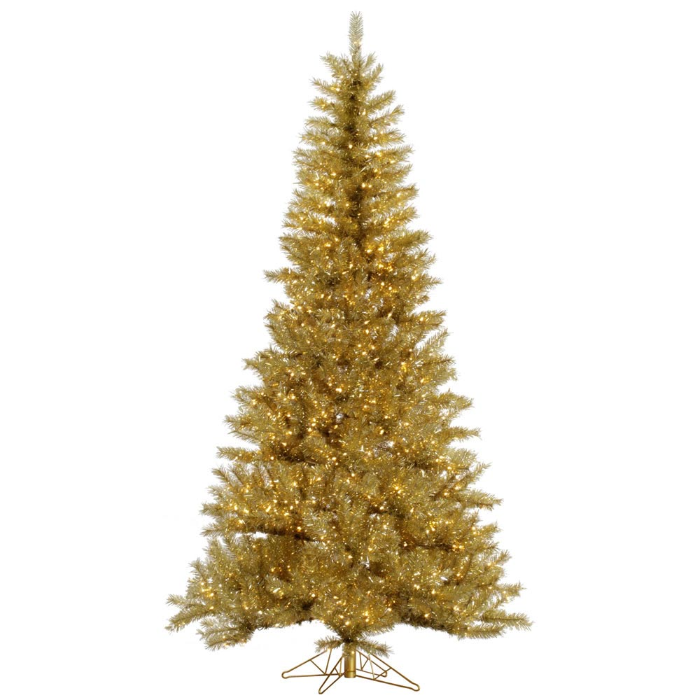 Gold silver tinsel christmas tree vck4550 for Gold xmas tree