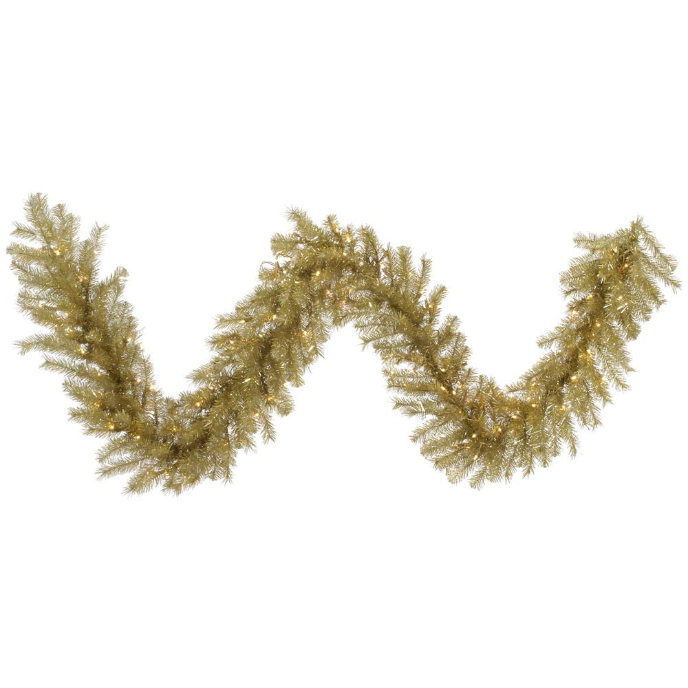 Foot gold silver tinsel christmas garland all lit
