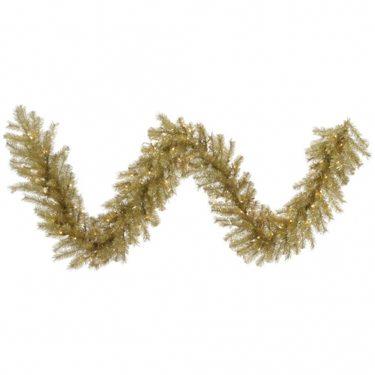 slim logo 9 foot goldsilver tinsel christmas garland led lights