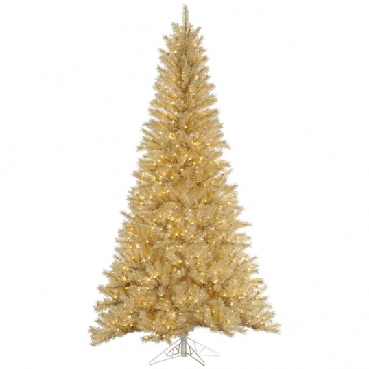 slim logo white gold tinsel christmas tree
