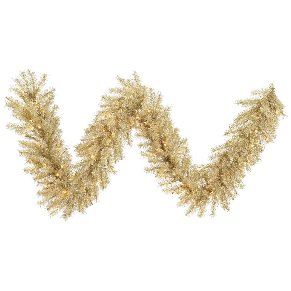 Foot white gold tinsel garland lights a