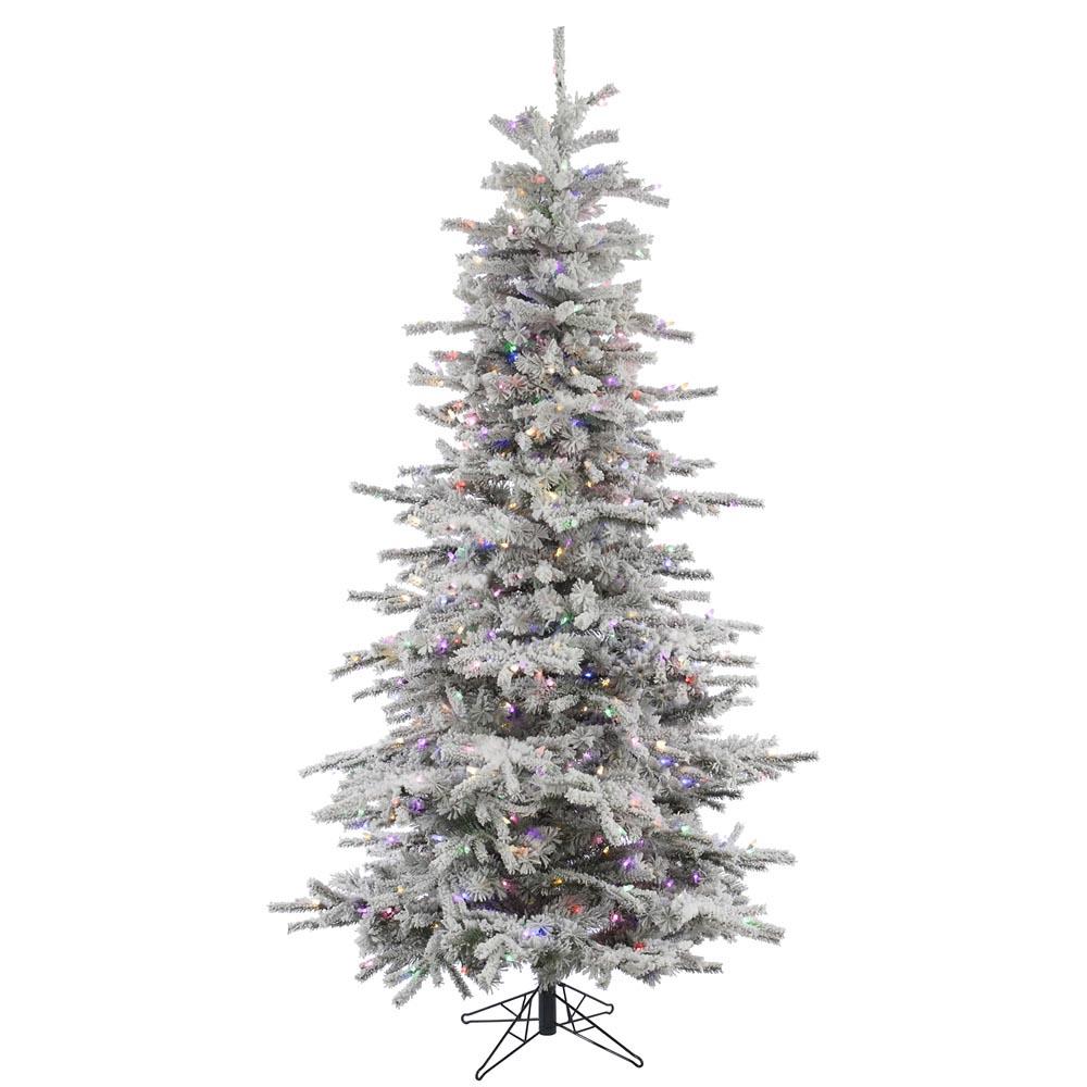 7.5 foot Flocked Slim Sierra Christmas Tree: Multi-Colored LEDs ...