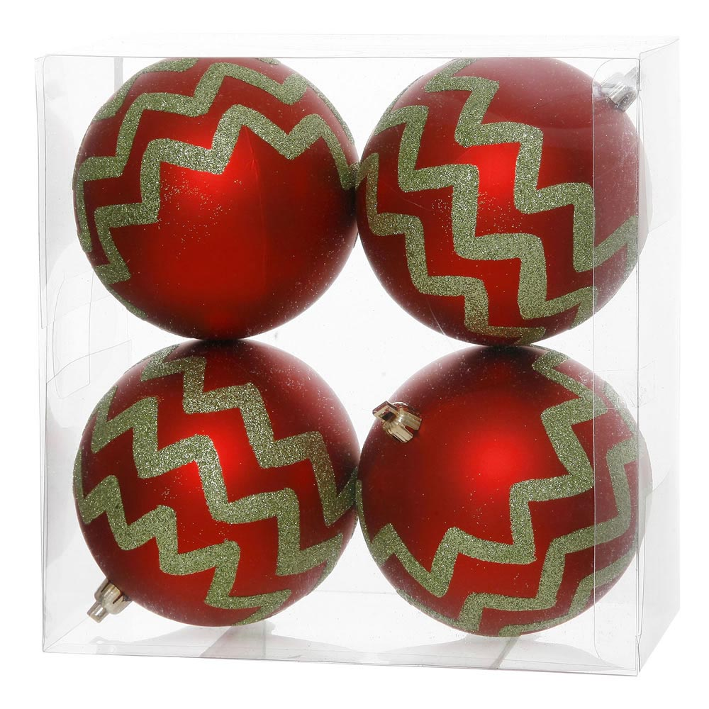 4 7 inch outdoor red chevron christmas ball ornament set for Outside christmas balls