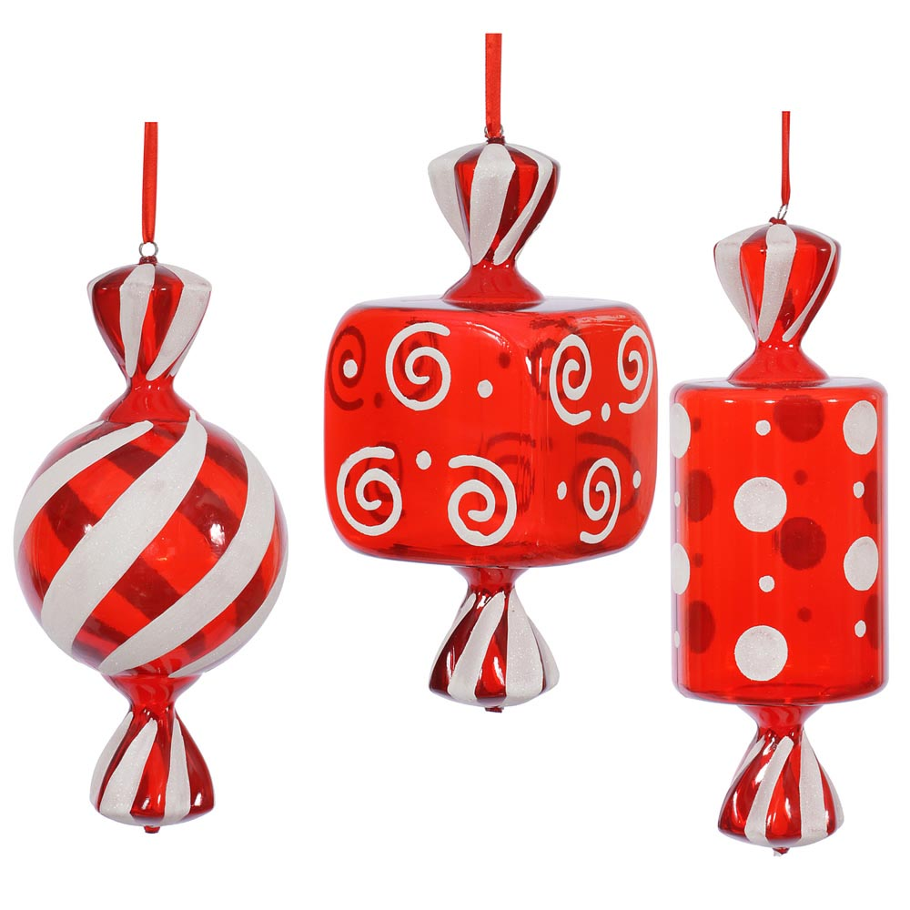 Foot red white fat candy christmas ornament set of 3 for Chocolate christmas decorations