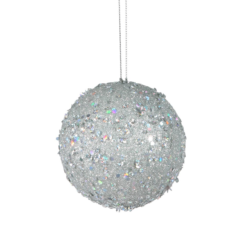 3 inch silver jewel christmas ball ornament w string p797107 - String ornaments christmas ...