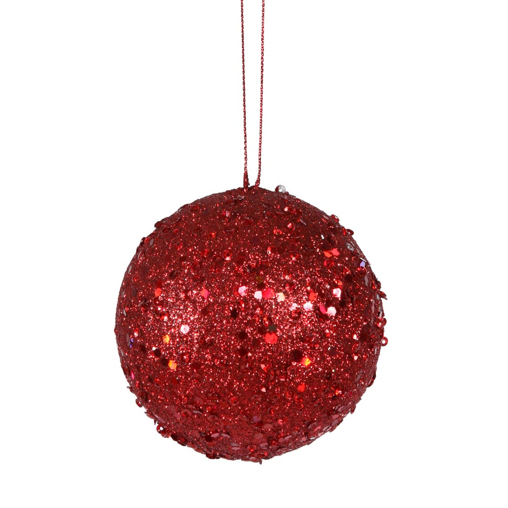 4 inch red jewel christmas ball ornament w string p797203 - String ornaments christmas ...