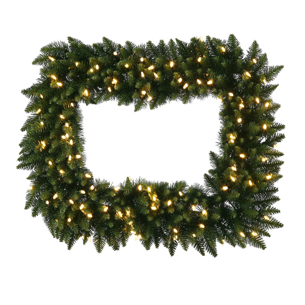 Foot camdon rectangle christmas wreath clear leds