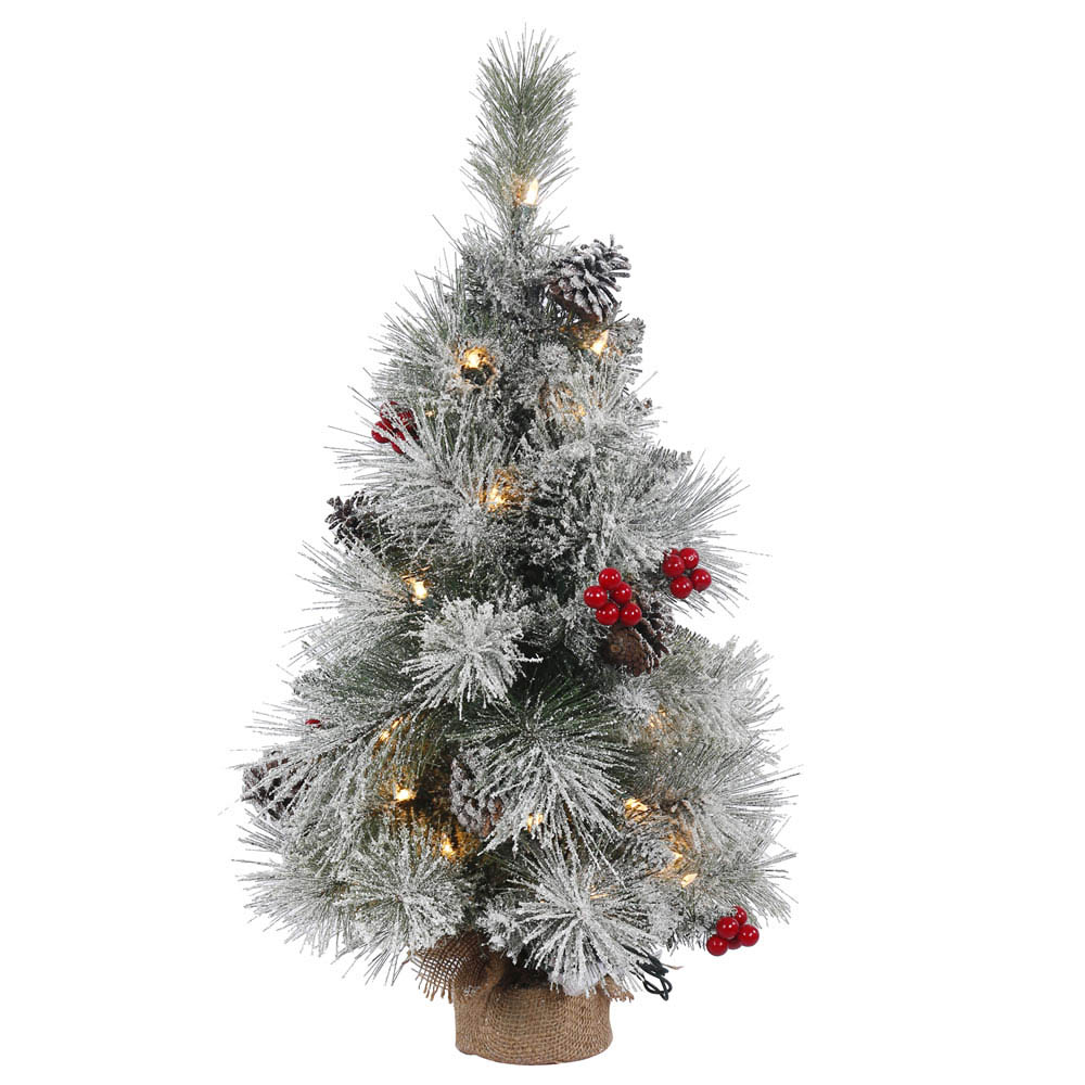 1.5 foot Frosted Mix Berry Tabletop Pine Tree: 20 Clear Mini Lights