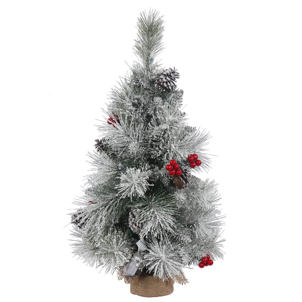 2 foot Frosted Mix Berry Tabletop Pine Tree: Unlit