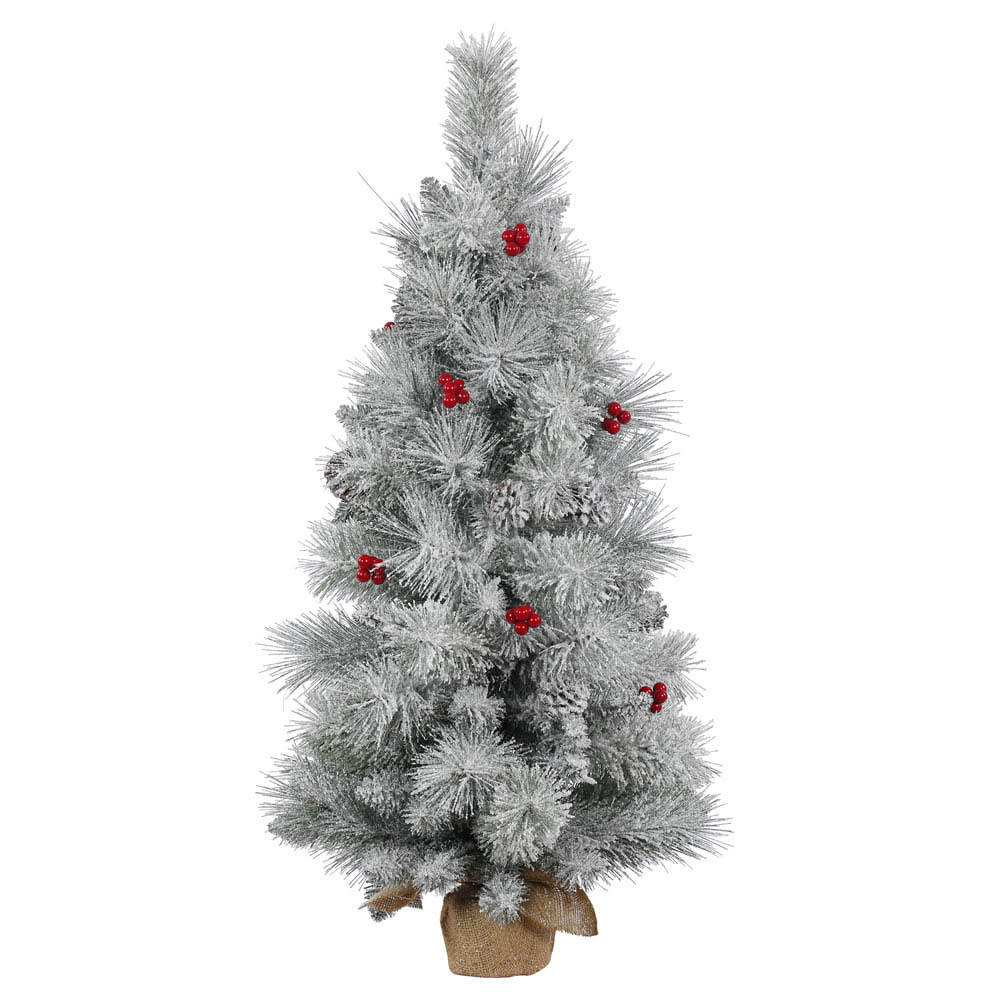 3 foot Frosted Mix Berry Tabletop Pine Tree: Unlit