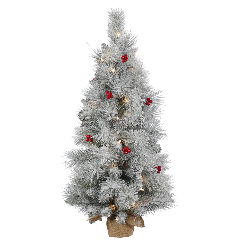 3 foot Frosted Mix Berry Tabletop Pine Tree: Clear Lights