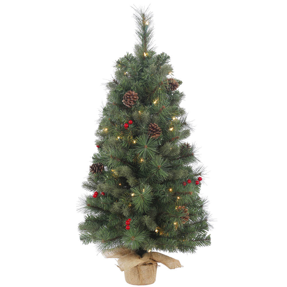 1.5 foot PVC, Hard Needle Wesley Mixed Tabletop Pine Tree: Mini Lights