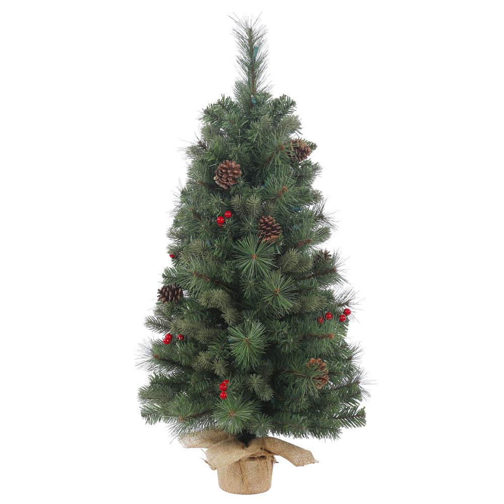 2 foot PE/PVC, Hard Needle Wesley Mixed Tabletop Pine Tree: Unlit
