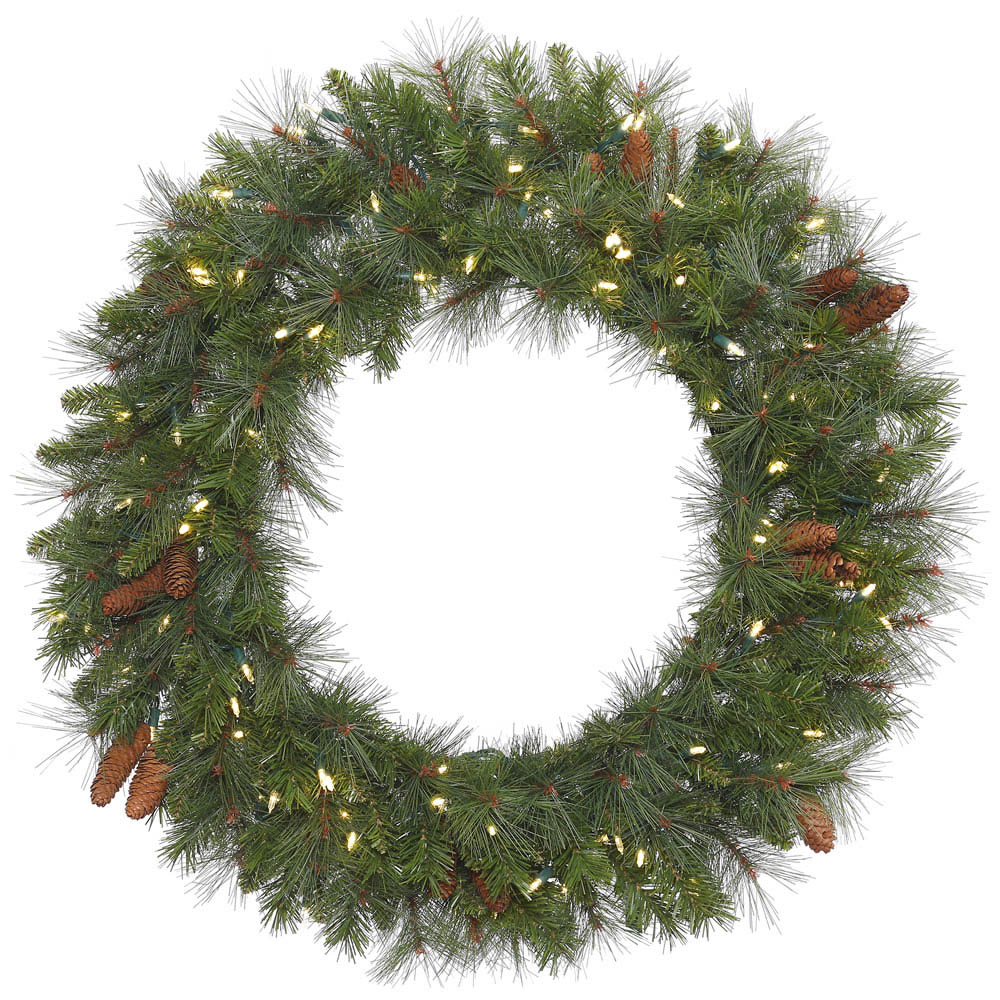 Remarkable Savannah Mixed Pine Wreath Clear Leds Product Photo