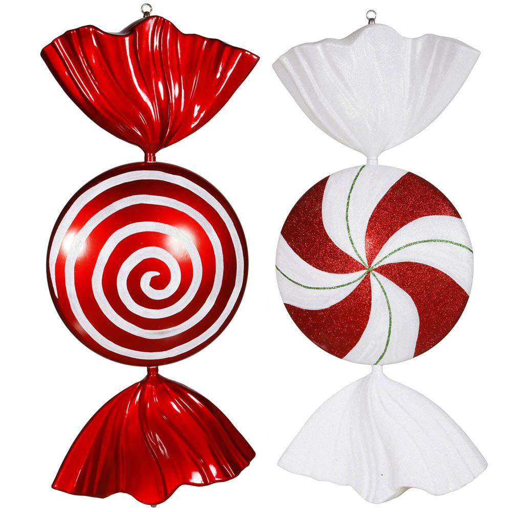 Melted Peppermint Candy Ornaments: 18 Inch Red, White, Green Peppermint Candy Ornament (Set