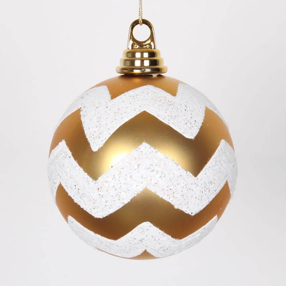 4.75 inch Gold, White Matte Glitter Chevron Ball Ornament (Set of 3) M143475
