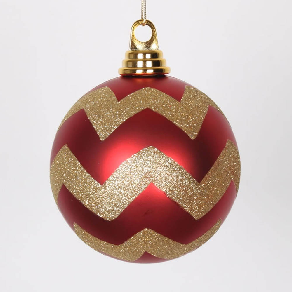 4.75 inch Red, Gold Matte Glitter Chevron Ball Ornament (Set of 3) M143486