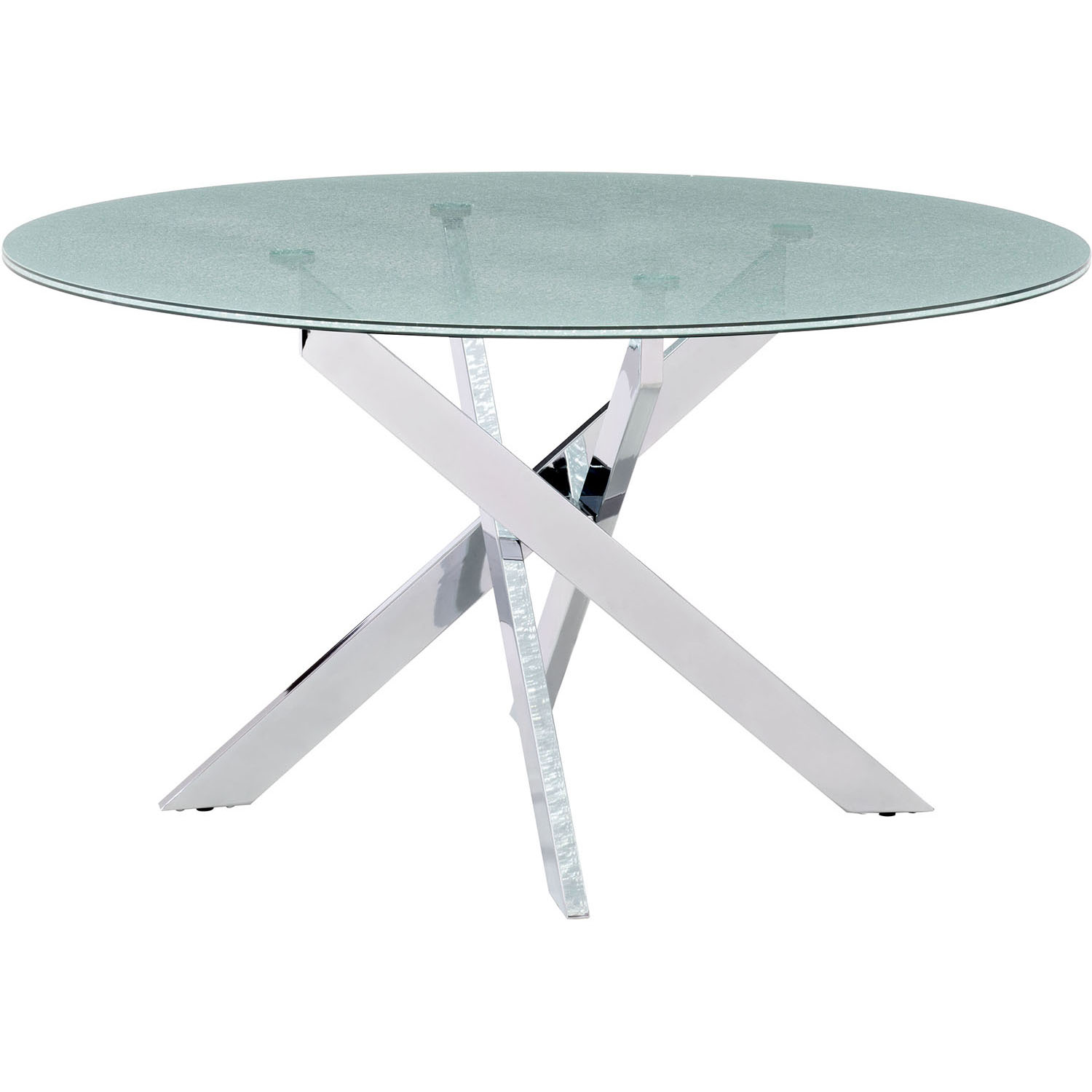 Unique Modern Stance Crackled Glass Dining Table Product Photo