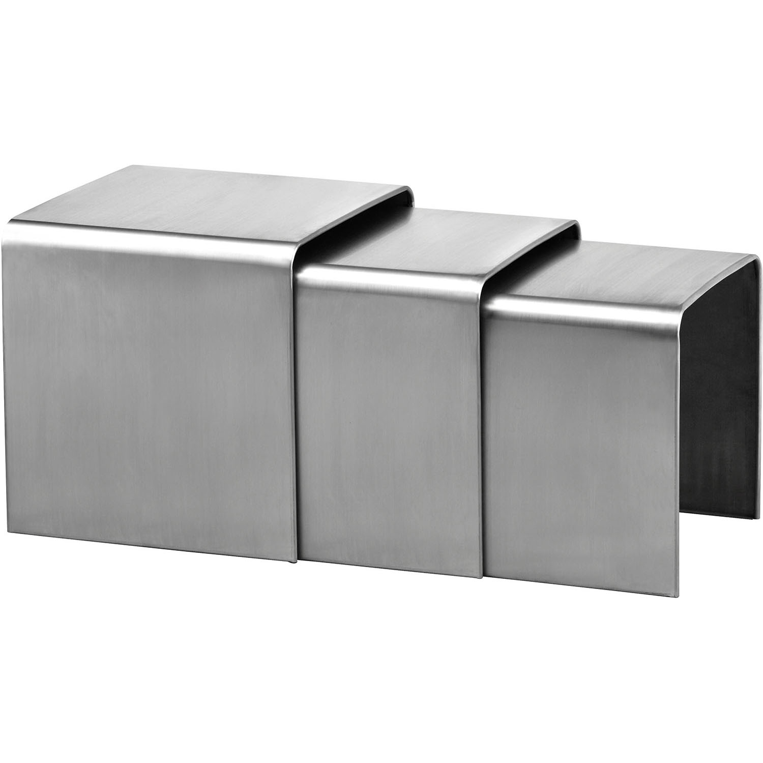 Exquisite Modern Aura Nesting Tables Brushed Stainless Steel Product Photo